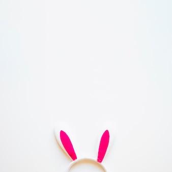 Orecchie da coniglio carino su bianco