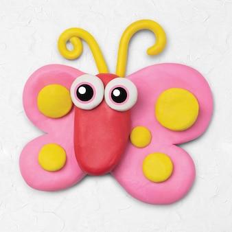 Милая бабочка, животное, глина, красочный персонаж, творческое ремесло для детей