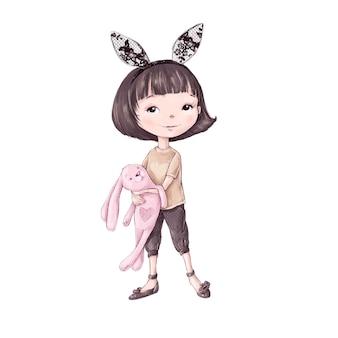 귀여운 만화 소녀는 장난감을 가지고 토끼로 분장했습니다.