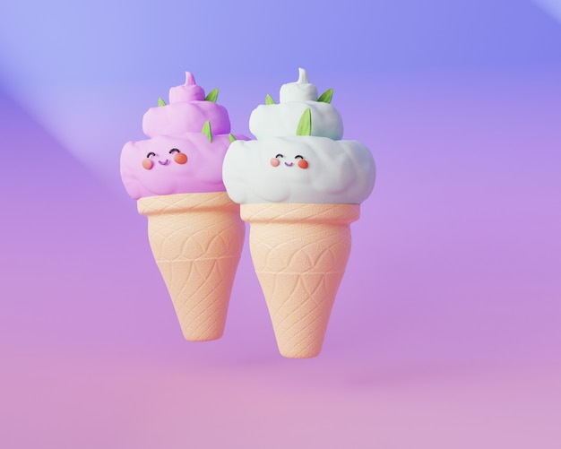 Cute cartoon ice cream with face eyes and cheeks trendy 3d render illustration