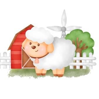 Cute cartoon sheep in a farm