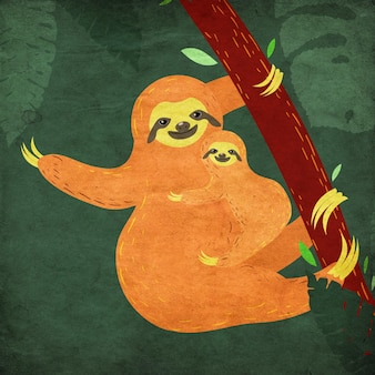Cute cartoon sloth mother with the baby and tropical leaves
