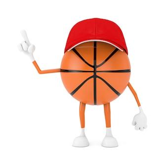 흰색 바탕에 귀여운 만화 장난감 농구 공 스포츠 마스코트 사람 캐릭터. 3d 렌더링