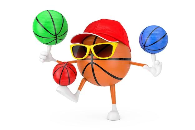 かわいい漫画のおもちゃバスケットボールボールスポーツマスコット人キャラクター白い背景にカラフルなバスケットボールボールを回転させます。 3dレンダリング