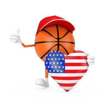 흰색 바탕에 미국 국기 심장으로 귀여운 만화 장난감 농구 공 스포츠 마스코트 사람 캐릭터. 3d 렌더링