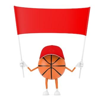 흰색 바탕에 디자인을 위한 여유 공간이 있는 빈 빨간색 빈 배너가 있는 귀여운 만화 장난감 농구 공 스포츠 마스코트 사람 캐릭터. 3d 렌더링