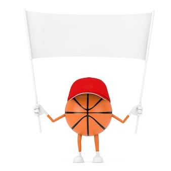 흰색 배경에 디자인을 위한 여유 공간이 있는 빈 흰색 빈 배너가 있는 귀여운 만화 장난감 농구 공 스포츠 마스코트 사람 캐릭터. 3d 렌더링