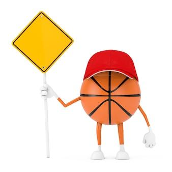 흰색 바탕에 디자인을 위한 여유 공간이 있는 빈 노란색 교통 표지판이 있는 귀여운 만화 장난감 농구 공 스포츠 마스코트 사람 캐릭터. 3d 렌더링