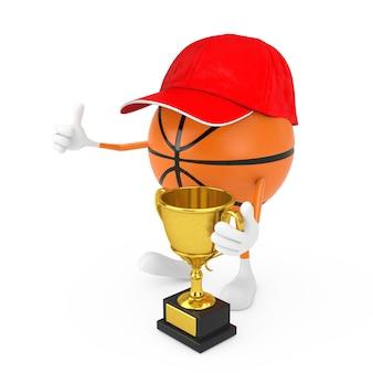 흰색 바탕에 황금 트로피와 함께 귀여운 만화 장난감 농구 공 스포츠 마스코트 사람 캐릭터. 3d 렌더링