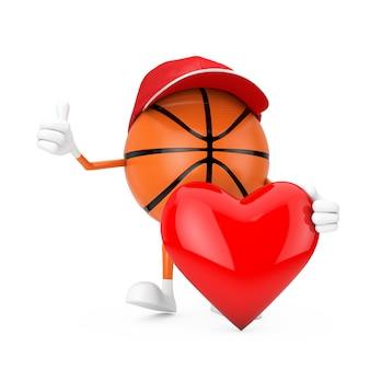 흰색 바탕에 붉은 마음으로 귀여운 만화 장난감 농구 공 스포츠 마스코트 사람 캐릭터. 3d 렌더링