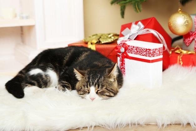 Милый кот лежит на ковре перед камином