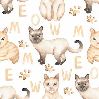 귀여운 고양이 원활한 패턴, 수채화 국내 동물 디지털 종이, 고양이 반복 패턴 직물, 인쇄 디자인, 애완 동물 인쇄, 스크랩북