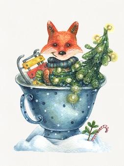 Милая лисичка сидит в синей чашке с елкой и санями, нарисованная от руки иллюстрация