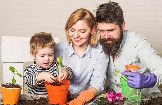 귀여운 소년은 부모가 식물을 돌보는 것을 돕습니다. 냄비에 꽃을 심는 행복한 가족. 팀워크와 가족 공생 개념입니다.