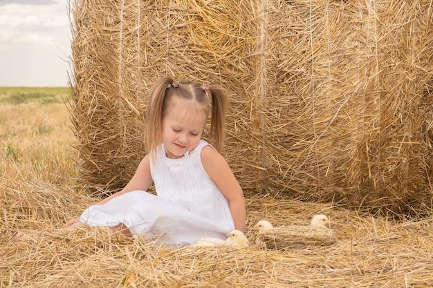 干し草の上に座ってふわふわの赤ちゃん雛とかわいい子女の子