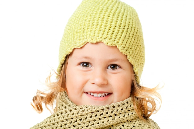 Cute child in knitted hat