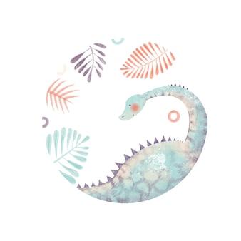 Cute childish illustration of dinosaur palm leaves isolated on white background baby round frame