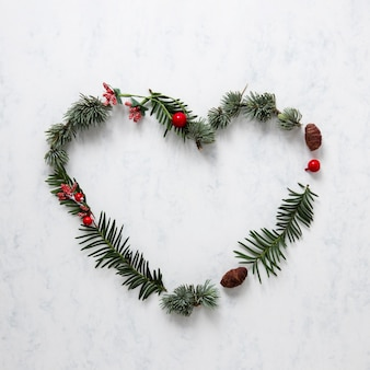 Cute christmas decoration with pine leaves
