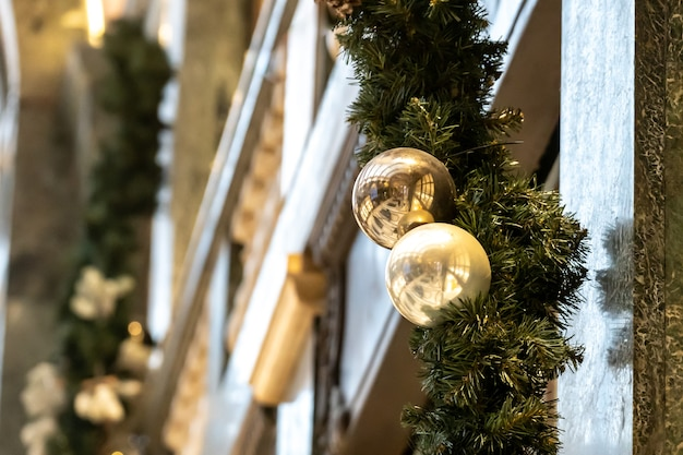 Cute christmas decorations on european streets