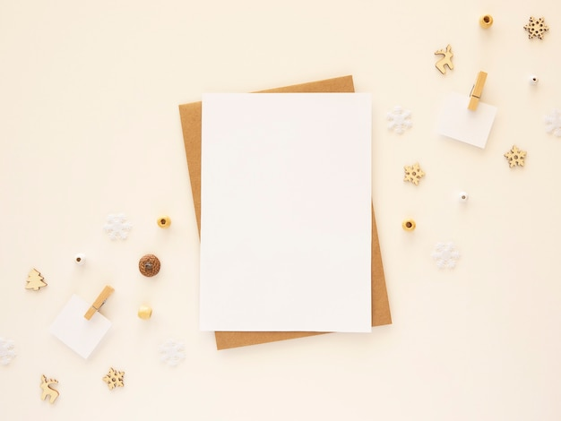 Cute christmas new year greeting card mockup. top view with copy space
