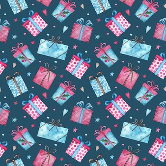 Cute christmas presents seamless pattern