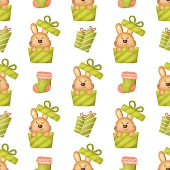 귀여운 크리스마스 토끼 완벽 한 패턴입니다.