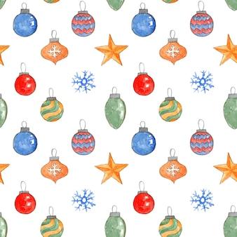 Симпатичные рождественские бесшовные модели с акварельными шарами, звездами и снежинками