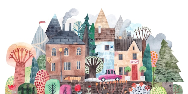 木々、山々を背景にかわいい街。マウンテントレイル。市の水彩イラスト。