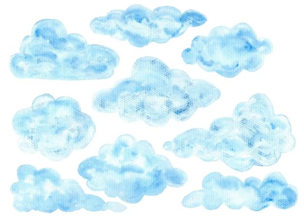 Симпатичные красочные акварельные синие пушистые текстурированные облачные элементы для детского полиграфического дизайна