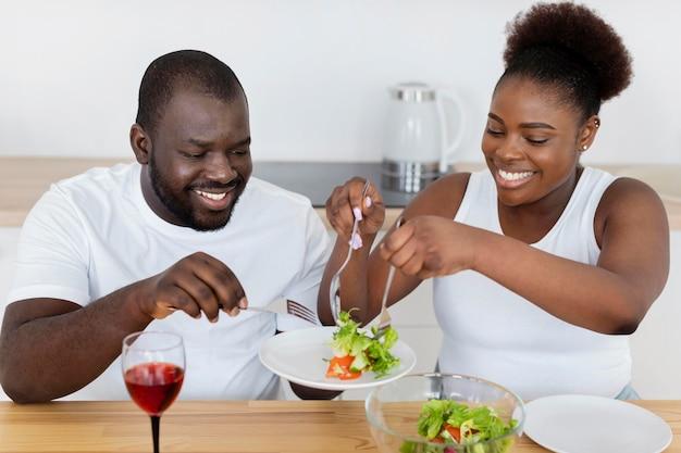 Cute couple having a romantic dinner