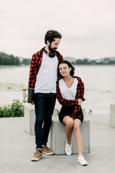 Cute couple in matching outfits