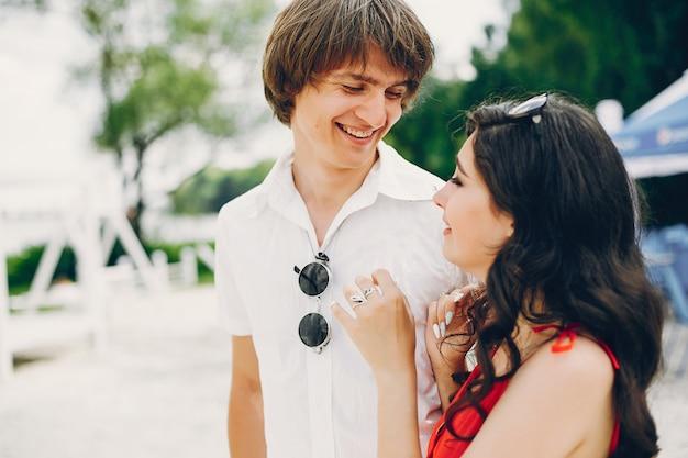 Cute couple in a summer park
