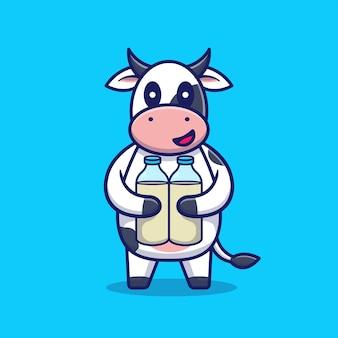 かわいい牛はミルク漫画アイコンイラストの2本のボトルを保持します