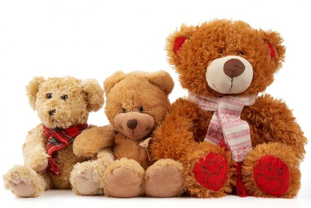 Симпатичные кудрявые коричневые плюшевые мишки, концепция поддержки и дружбы