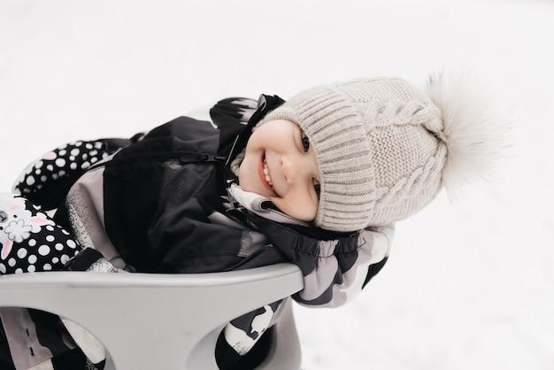 雪、アクティブなライフスタイル、冬、家族のそりでかわいいかわいい男の子