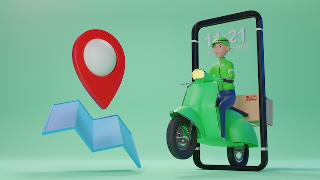 Cute delivery staff take the parcel. 3d rendering. 3d character.