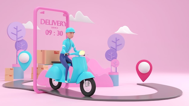 Cute delivery staff taking the parcel in 3d rendering.