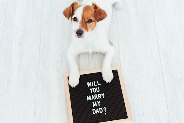 Cute dog with letter board and ring. wedding concept