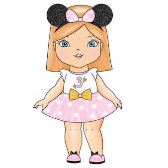 ピンクのスカートのかわいい人形