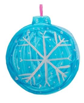 かわいい落書きクリスマスブルーボール、クリスマスツリーの装飾、子供の水彩画。