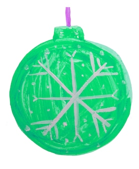 かわいい落書きクリスマスグリーンボール、クリスマスツリーの装飾、子供の水彩画。