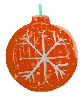 かわいい落書きクリスマス赤いボール、クリスマスツリーの装飾、子供の水彩画。