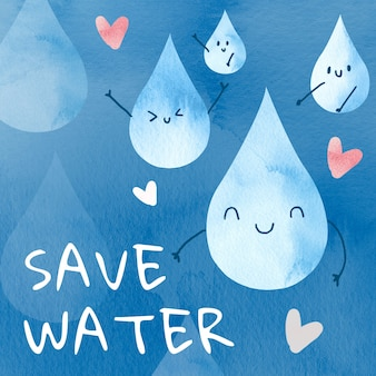 Cute droplets with save water text watercolor illustration