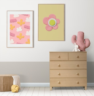 Cute dry clay craft photo hanging on the wall kids room decor