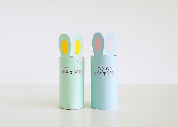 Cute easter bunnies made from toilet paper roll, happy easter crafts.
