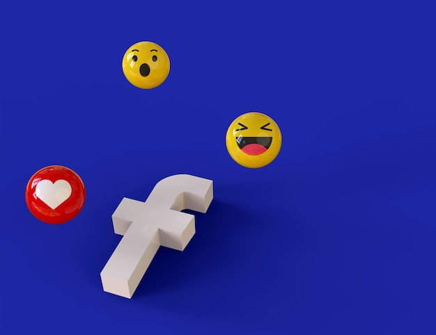 Симпатичные иконки emoji facebook вокруг 3d-рендеринга