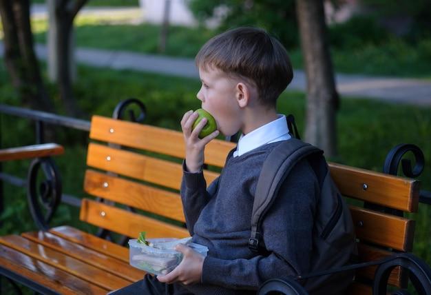 かわいいヨーロッパの少年は授業後に公園のベンチで学校の朝食を食べる