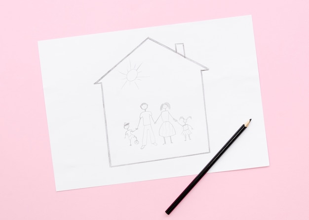 Cute family concept drawing on pink background