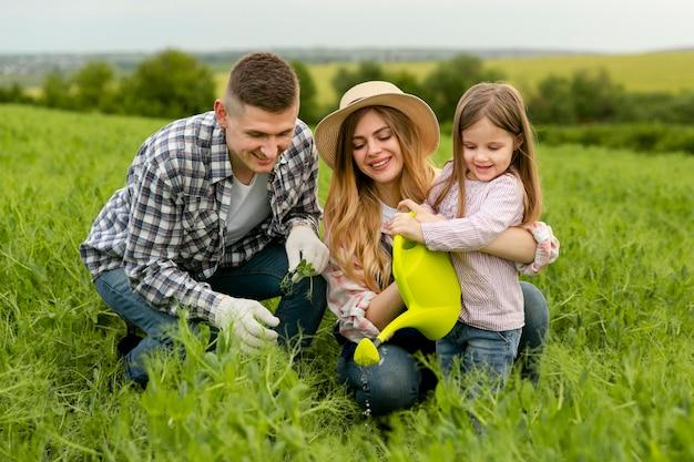 Cute family at farm
