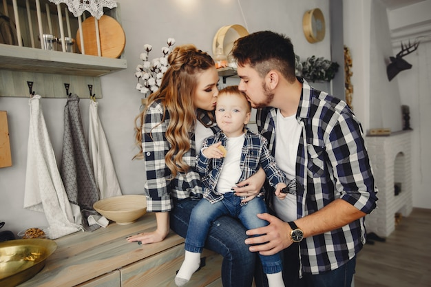 Cute family have fun in the kitchen